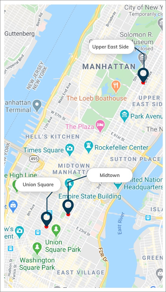 Podiatry map midtown, upper east side, and uniion square/chelsea